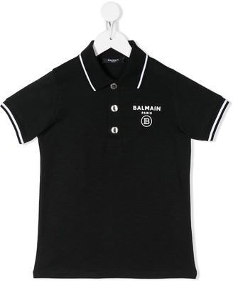Balmain Kids Logo Print Short-Sleeved Polo Shirt