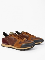 Valentino Brown Camouflage Panelled Running Sneakers
