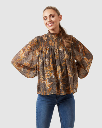 French Connection High Neck Shirred Blouse