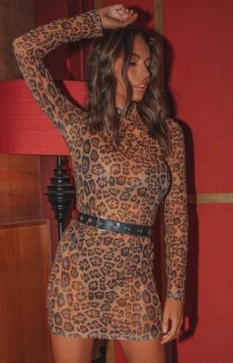 Bb Exclusive Tomorrowland Mesh Dress Brown Leopard