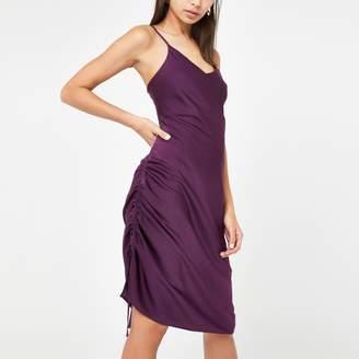 River Island Womens Purple ruched slip midi dress