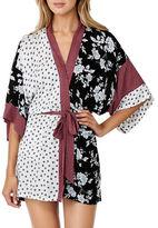Kensie Floral and Geometric Print Kimono Robe