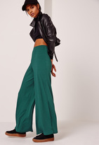 Missguided Ribbed Wide Leg Trousers Green