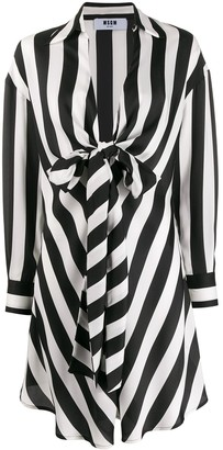 MSGM Striped Tie Waist Draped Dress