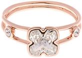 Karen Millen Art Swarovski Crystal Flower Ring, Rose Gold
