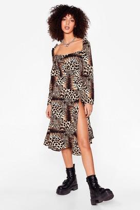 Nasty Gal Womens Prowl It Even Leopard Midi Dress - Brown - 8
