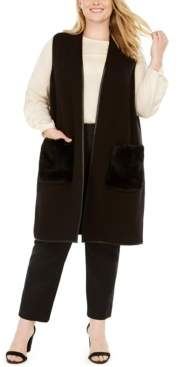 JM Collection Plus Size Faux-Fur-Pocket Vest, Created for Macy's