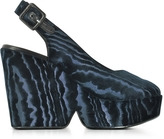 Robert Clergerie Dylan Midnight Blue Velvet Wedge Sandals