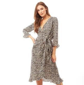 Brave Soul Womens Miriam All Over Print Wrap Dress White/Black Leopard Print