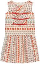 Gucci Spring Bouquet Striped Poplin Sleeveless Dress, Size 4-12