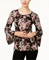 NY Collection Petite Printed Bell-Sleeve High-Low Blouse