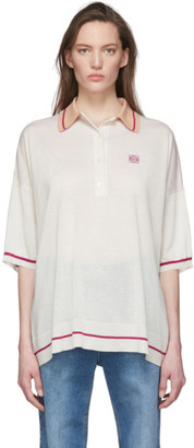 Loewe Off-White and Pink Cashmere Anagram Polo