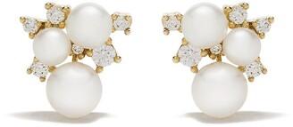 Yoko London 18kt yellow gold Trend freshwater pearl and diamond earrings