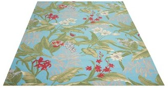 Waverly Sun and Shade Floral Aqua Blue Area Rug Rug Size: Rectangle 10' x 13'