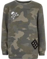 River Island Boys khaki camo badge sweatshirt
