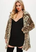 Missguided Brown Leopard Faux Fur Coat