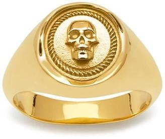 Northskull Atticus Skull Seal Pinky Ring In Gold