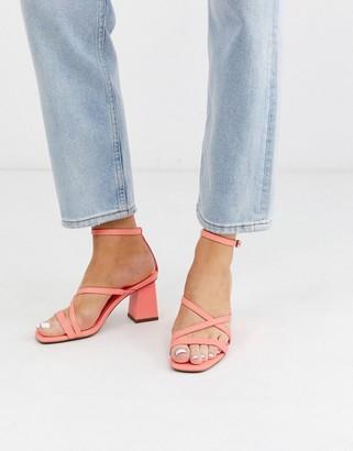 ASOS DESIGN Heartening block heeled sandals in hot pink