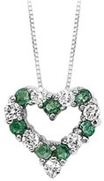 Katarina 14K White Gold 1/4 ct. Diamond with Alternating 3/8 ct. Emerald Heart Pendant with Chain