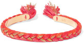Aurelie Bidermann Copacabana Gold-plated Braided Cotton Cuff - Bright orange