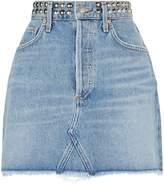 A Gold E Quinn Studded Mini Skirt, Blue, 30