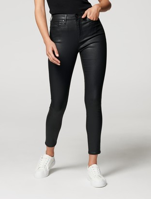 Forever New Sara Mid Rise 7/8 Jean - Coated Black - 14