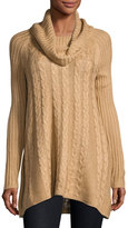 Neiman Marcus Long-Sleeve Cable-Knit Swing Sweater, Light Brown