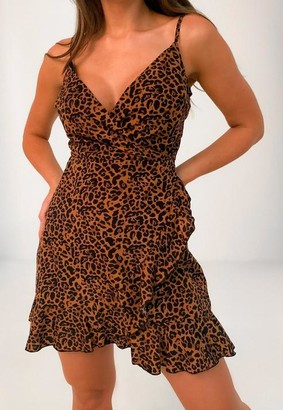 Missguided Rust Leopard Cami Ruffle Wrap Dress
