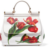 Dolce & Gabbana Sicily Medium Floral-print Textured-leather Tote - one size