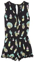 Flowers by Zoe Girls' Cactus, Shell & Pineapple Print Romper - Big Kid