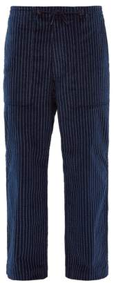 Needles Chalk Striped Wide Leg Cotton Trousers - Mens - Navy