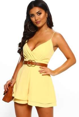 Pink Boutique Dressed In Love Yellow Wrap Playsuit