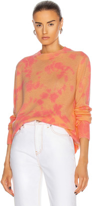 The Elder Statesman Hot Tranquility Crew Sweater in Peach & Hot Pink | FWRD