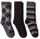 Merona Women's Crew Socks 3-Pack Black All Over Argyle One Size