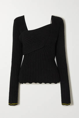 Bottega Veneta Ribbed-knit Cotton-blend Sweater - Black