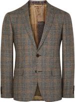 Etro - Brown Slim-fit Checked Silk And Wool-blend Blazer