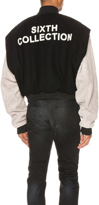 Fear Of God Paneled Varsity Jacket in Black & Grey   FWRD