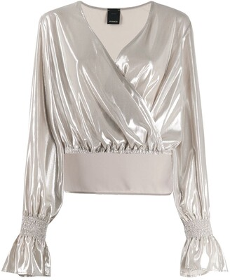 Pinko metallic wrap top