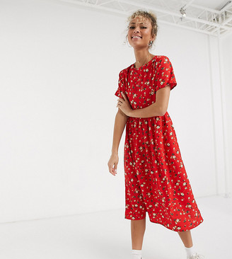 Wednesday's Girl midi smock dress in ditsy floral