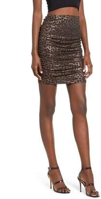 Leith Sparkle Leopard Print Ruched Miniskirt