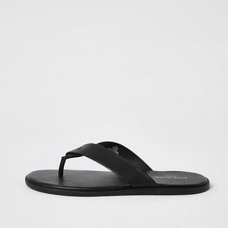 River Island Black leather flip flops