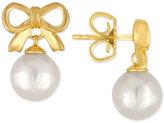 Majorica Gold-Tone Imitation Pearl Bow Drop Earrings