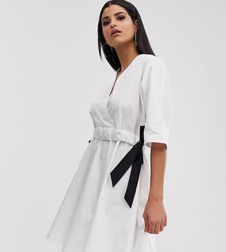 Asos Tall DESIGN Tall v front v back ruched waist mini smock dress-White