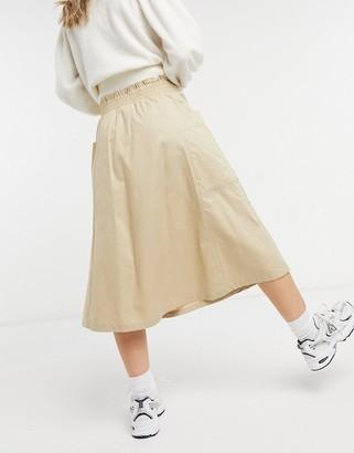 Monki midi skirt in beige