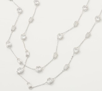 """Diamonique by the Yard 42"""" Mixed- Cut Necklace, Sterling Silver"""