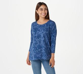 Isaac Mizrahi Live! TRUE DENIM Floral Printed Seamed Knit Top