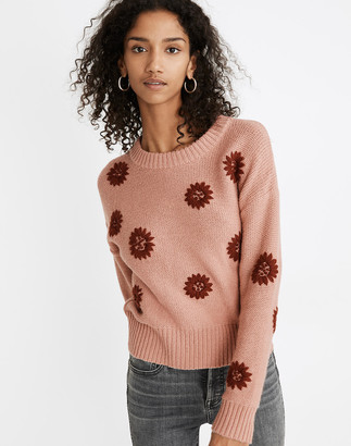 Madewell Flower Embroidered Pullover Sweater