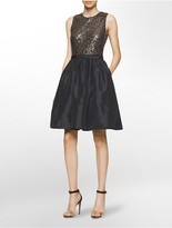 Calvin Klein Sequined Sleeveless Fit + Flare Dress