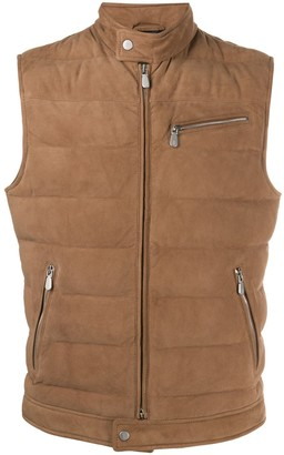 Eleventy Quilted Suede Gilet