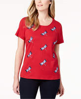 Karen Scott Cotton Dragonfly-Embroidered T-Shirt, Created for Macy's